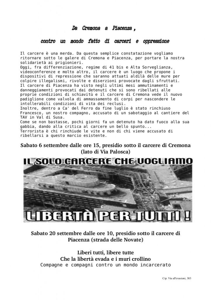 Presidi Anticarcerari Cremona e Piacenza - Settembre 2014